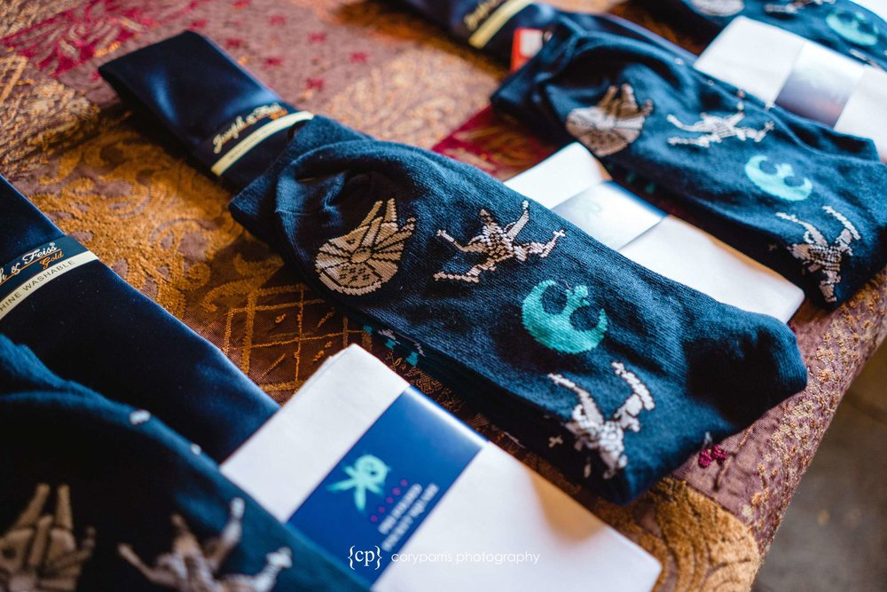 Star Wars socks for the groom and groomsmen. This is definitely something I would do.