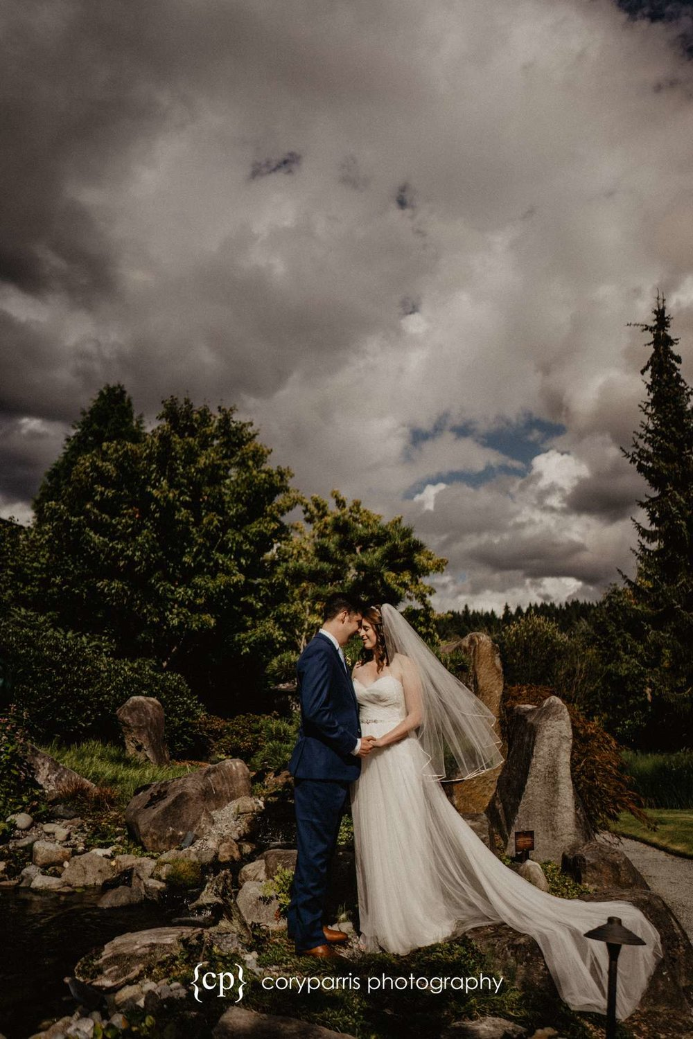 Lindsay and Jake on the wedding day at the beautiful Willows Lodge in Woodinville.