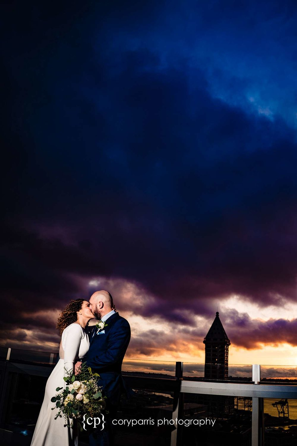 I had a great time playing with the sunset and views from the top of the courthouse before the elopement wedding ceremony