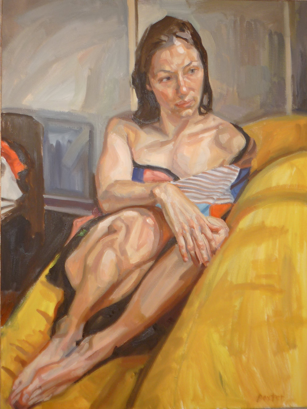 Woman on Yellow Couch  by Baxter Knowlton