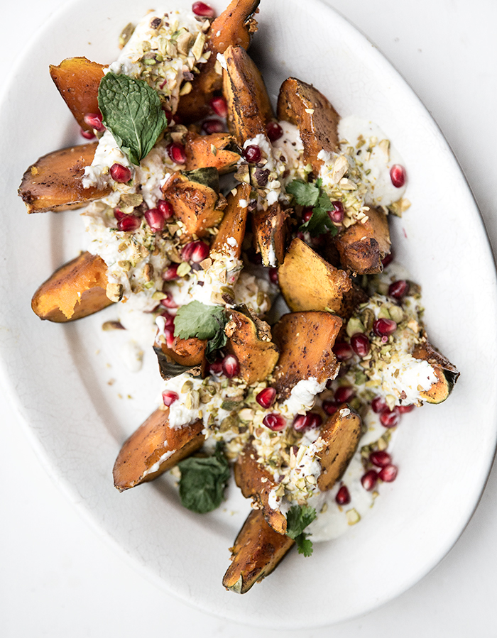 Roasted Squash with Whipped Feta + Pistachios and Pomegranates | Neighborhood Studio - Brooklyn, NY