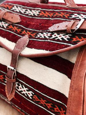6b603cac08ad Moroccan Duffle Bag - Burgundy   Cream — Moroccan Soul