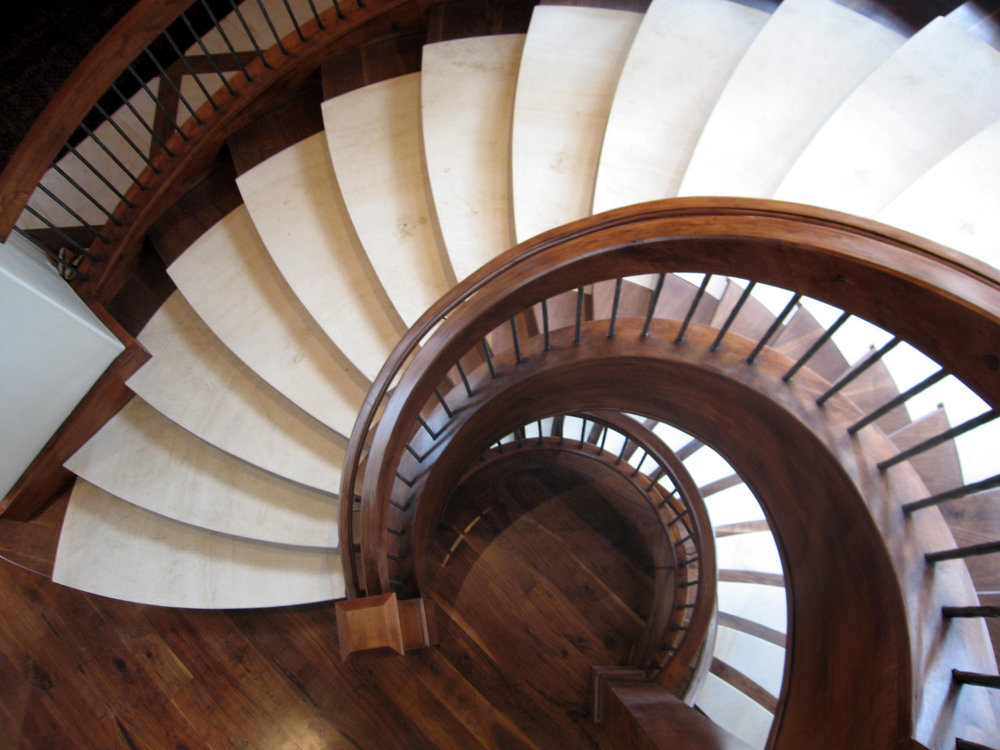 Custom Wood Staircase with Wrought Iron Balusters.jpg