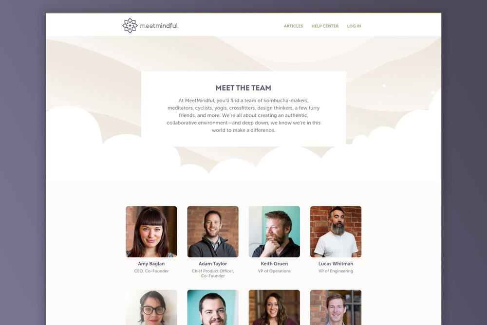To supplement the new Careers page, I simultaneously designed and developed a  Team  page to introduce potential employees to the existing MeetMindful team, as well as create legitimacy to the people-centric attitude of what's behind MeetMindful.