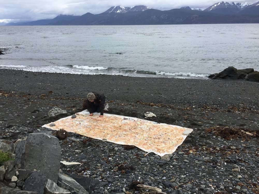 Julie Gough and Francisca Moenne, on-site intervention, Puerto Williams, November 2016