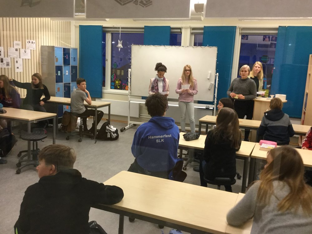 Students giving an oral presentation. Fjordtun skole.