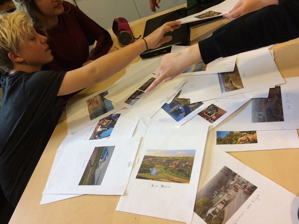 Looking at images of the US with the entire 8-10 grade at Seter skole-- 4 students!