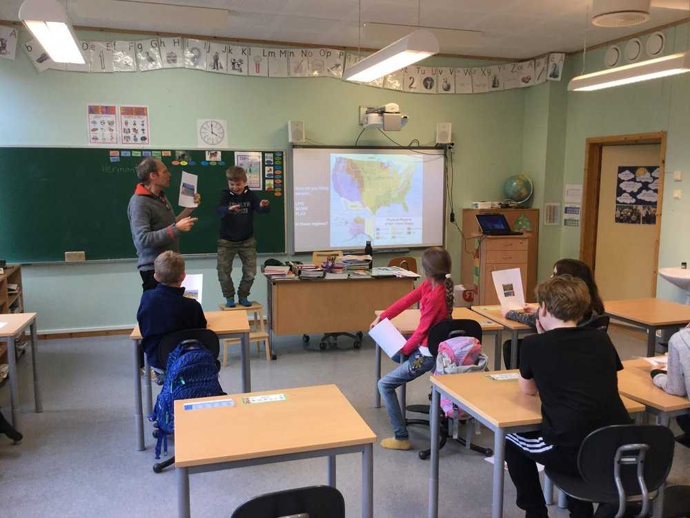 Learning where the 3-5 graders at Brandsfjord skole would like to visit in the USA.