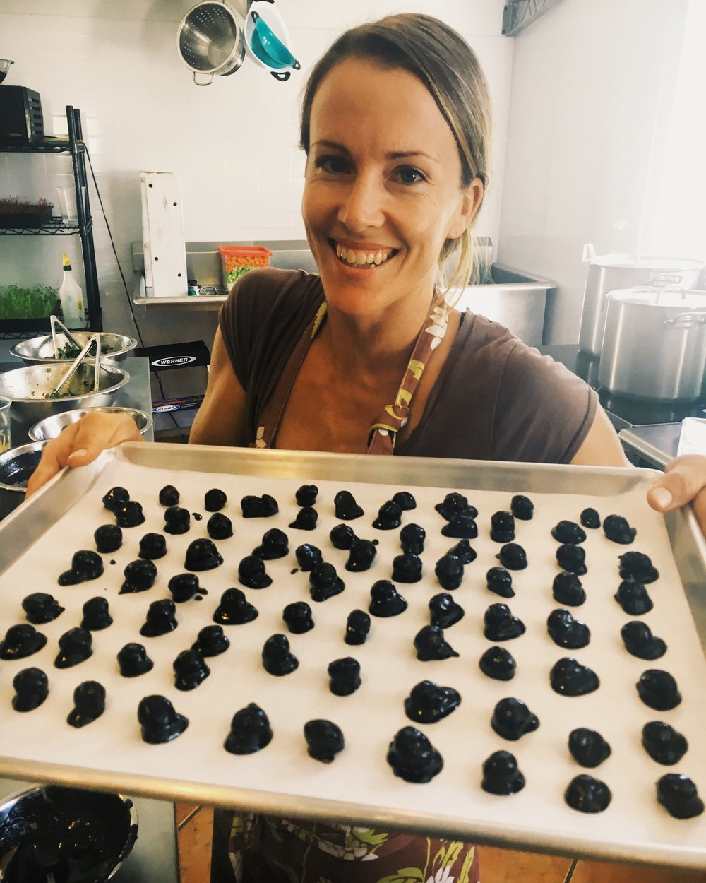 kitchen chef - lindsay - with chocolate covered macadamia nuts
