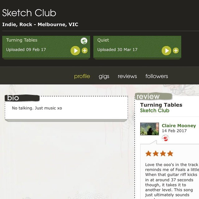 """You can rate, commend or take exception to our latest single """"Quiet"""" right here -  https://www.triplejunearthed.com/artist/sketch-club #indiemusic #jjjunearthed #rockandroll #melbourne #sketchclub #livemusic #reverb #guitarpedal #single"""