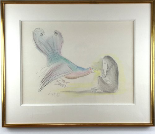 Woman with Bird   by Leonora Carrington