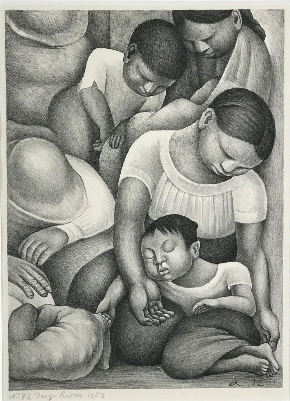 Diego Rivera  Lithograph.  Sleeping Children.  1932  16.25 x 12 inches .jpg