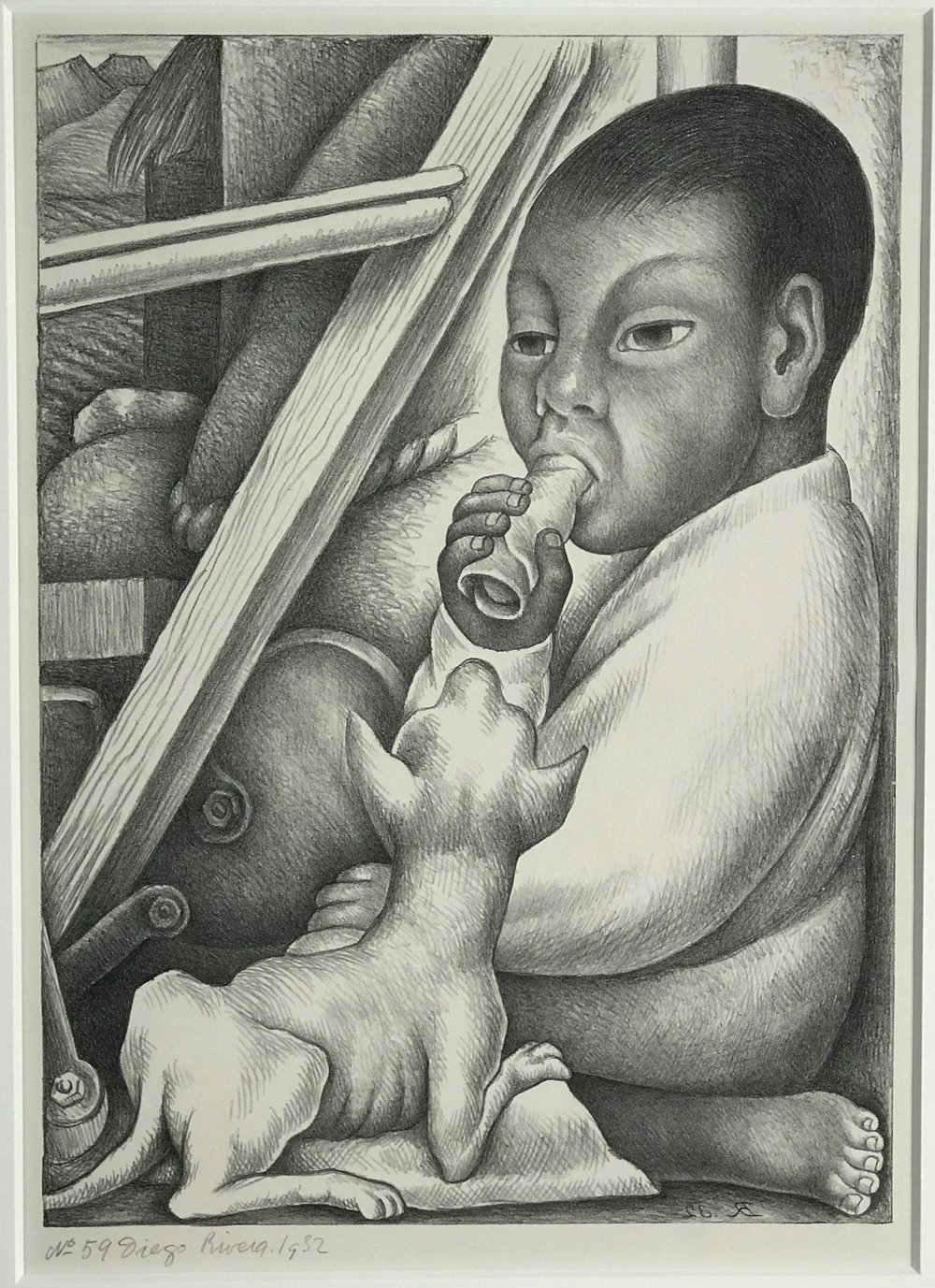 Diego Rivera  Lithograph.  Boy with Taco.  1932  16.25 x 12 inches  .jpg