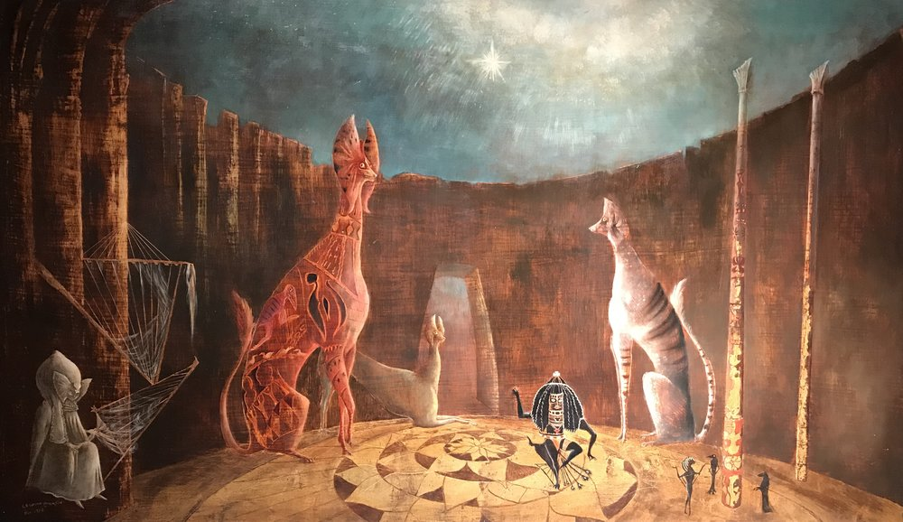 Vas En Serio? (Are you really Serios?)  by Leonora Carrington. This oil on canvas was executed in 1953.