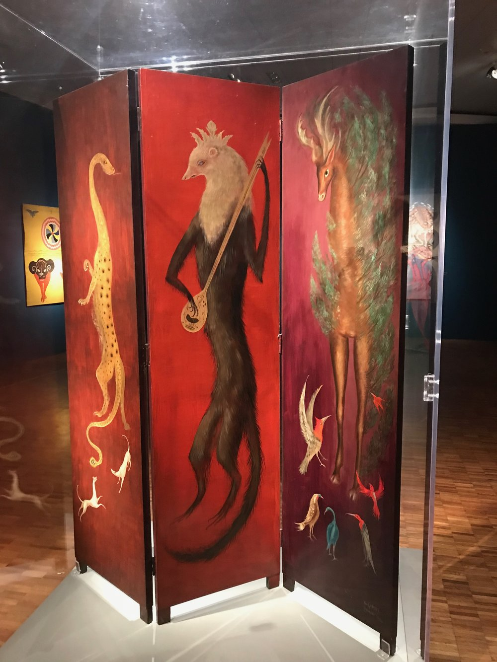 Hand painted folding screen by Leonora Carrington.