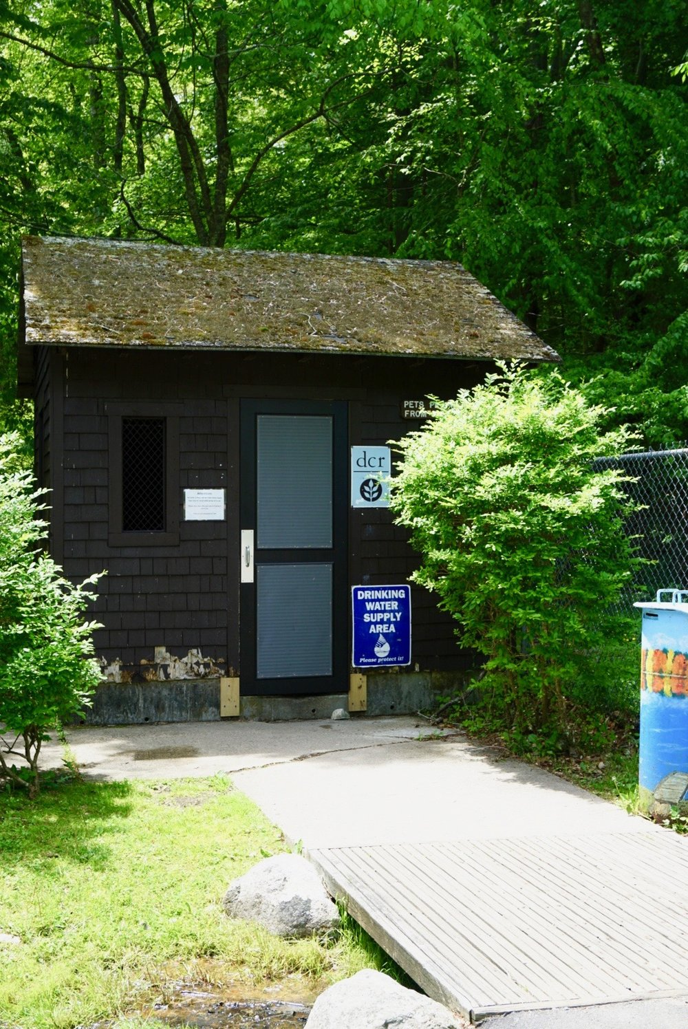 The Mt. Blue Spring aquifers are located in this little hut, near the campgrounds of the Wompatuck State Park.