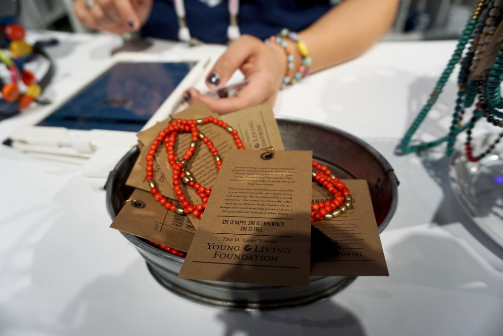 I always head to the  Young Living Foundation  room in the expo because they have gorgeous handmade items, including jewelry, in which 100% of the proceeds go directly to support the many global projects Young Living has. This was another item I regret not picking up, but I did get a beautiful wrap bracelet make of paper beads!