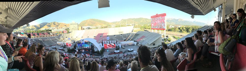 A panoramic view of the Rice Eccles Stadium where the General Session was!