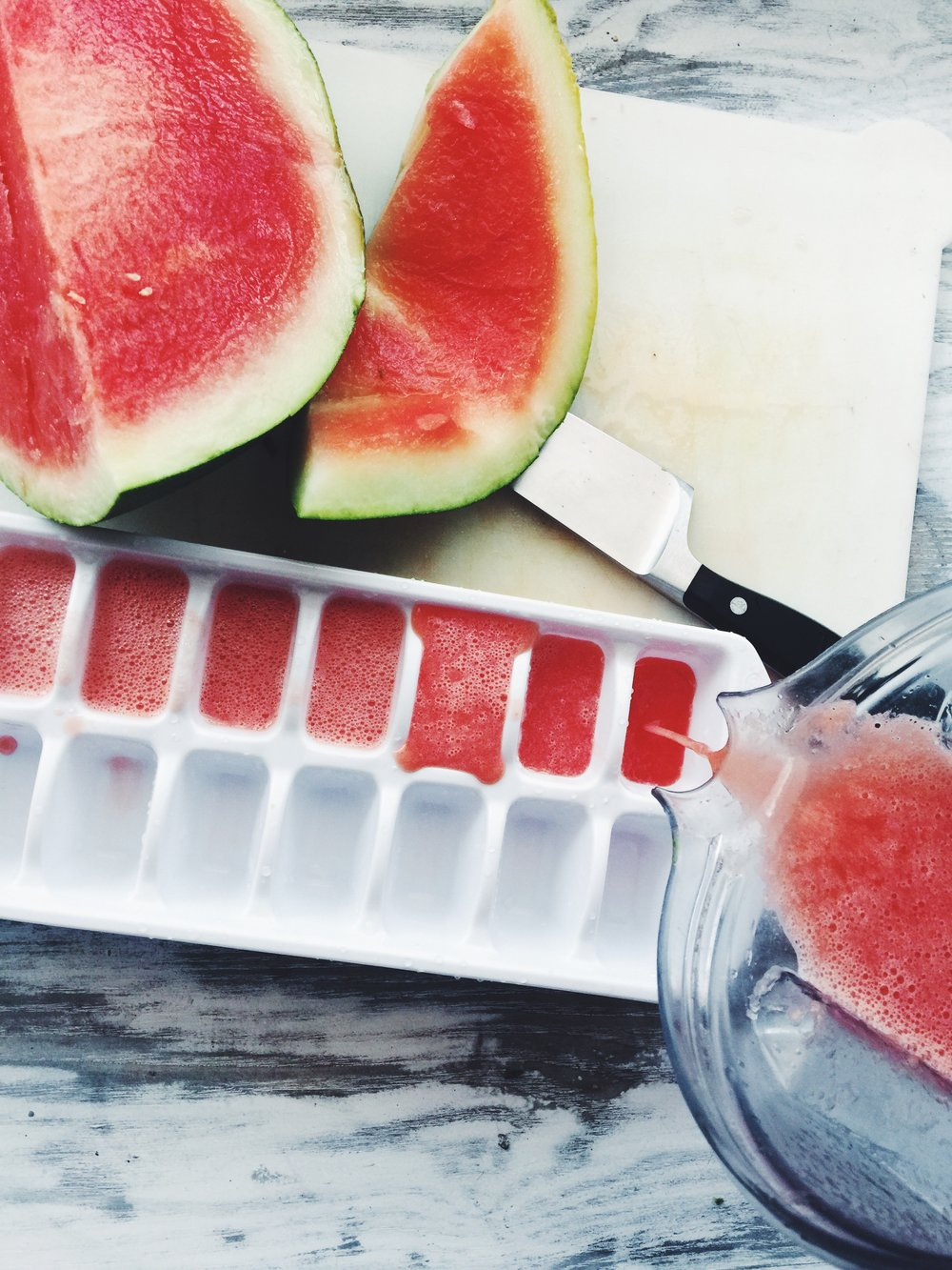 watermelon ice cubes in the making!