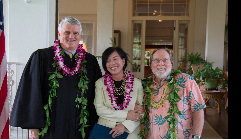 Chief Justice Mark Reckenwald, Dr. Tsuchiyama, Governor Neil Abercrombie at the Governor's Mansion, Honolulu, HI