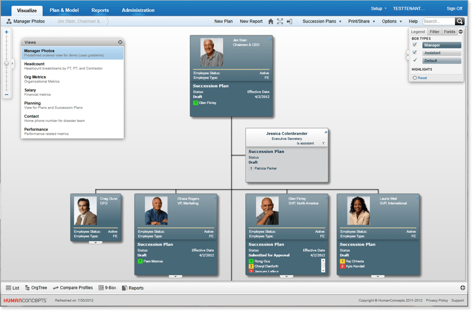 Create, edit and share Succession Plans within the framework of the org chart.