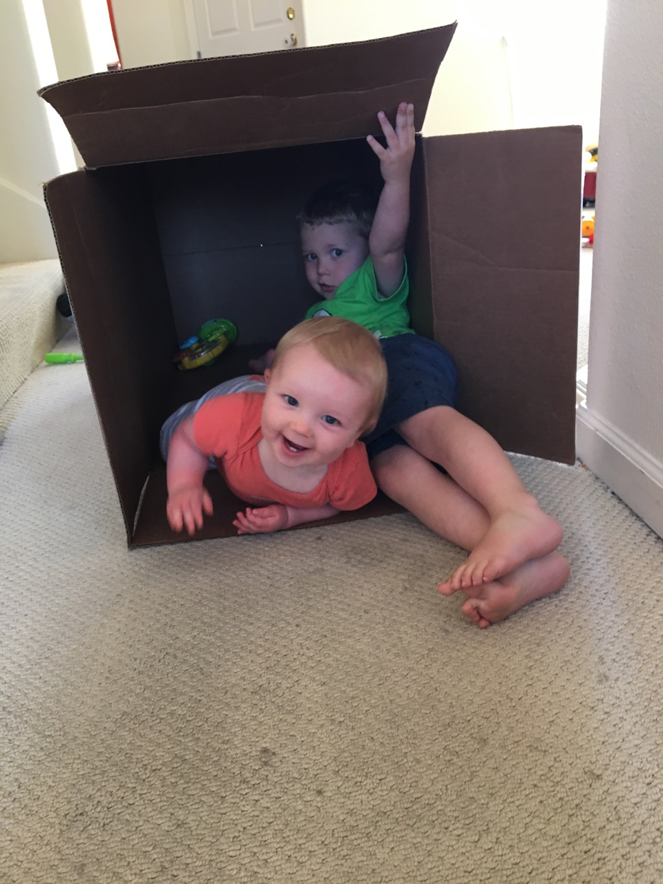 The car seat box was so much fun to play in