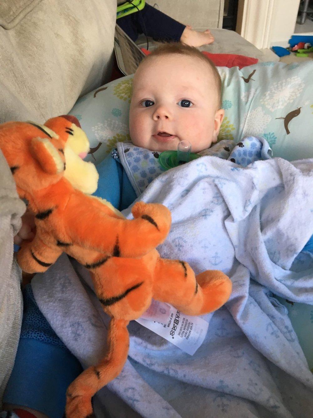 His new friend Tigger