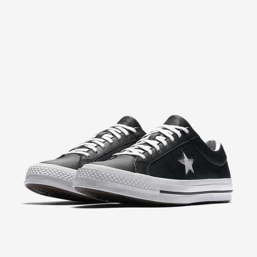 48e3a0fb38d8 Converse One Star Ox Perf Leather in Black White. 158465C 001 E PREM.jpg