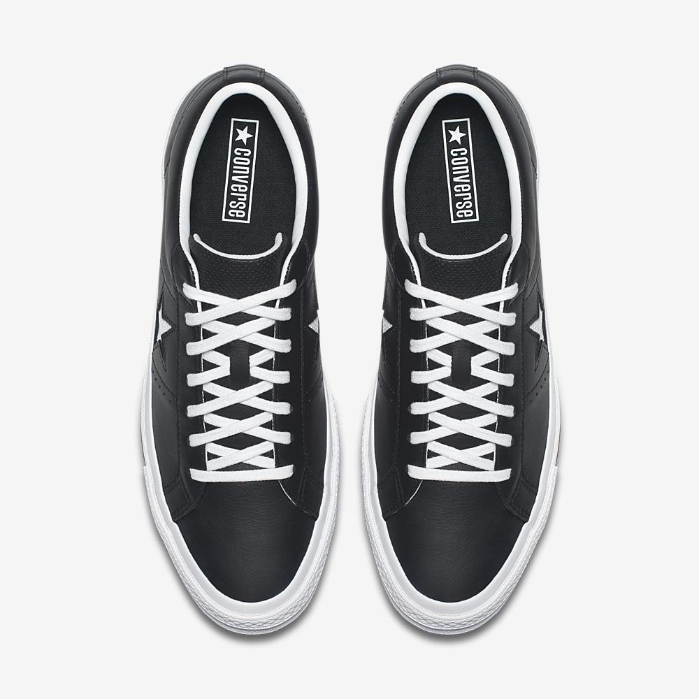 e06e21c85399 Converse One Star Ox Perf Leather in Black White — MAJOR
