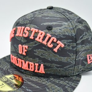 New Era x MAJOR The District of Columbia 59Fifty Fitted in Tiger Camo Dusk  Orange d6c18045ea50