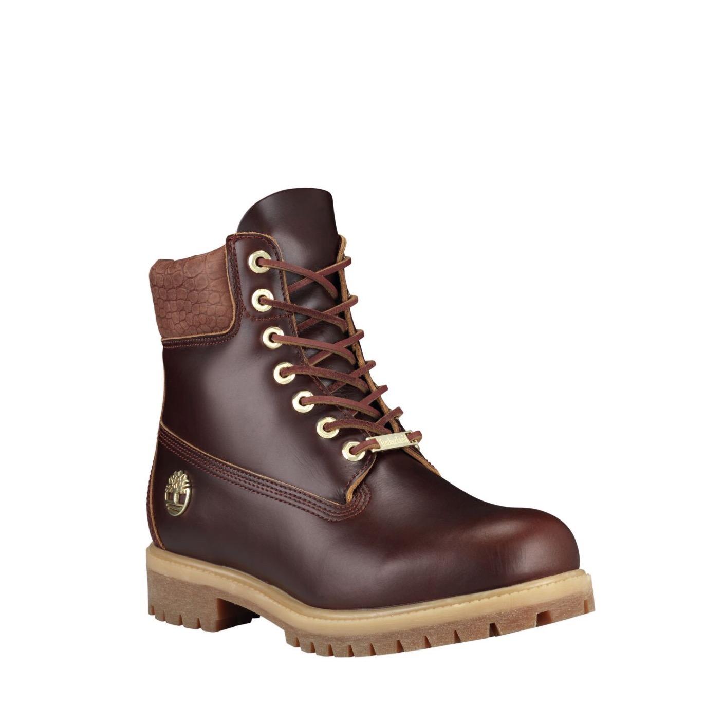 75ed8004677 Timberland 6-inch Premium Waterproof Boots in Burgundy Exotic Full Grain  Leather — MAJOR