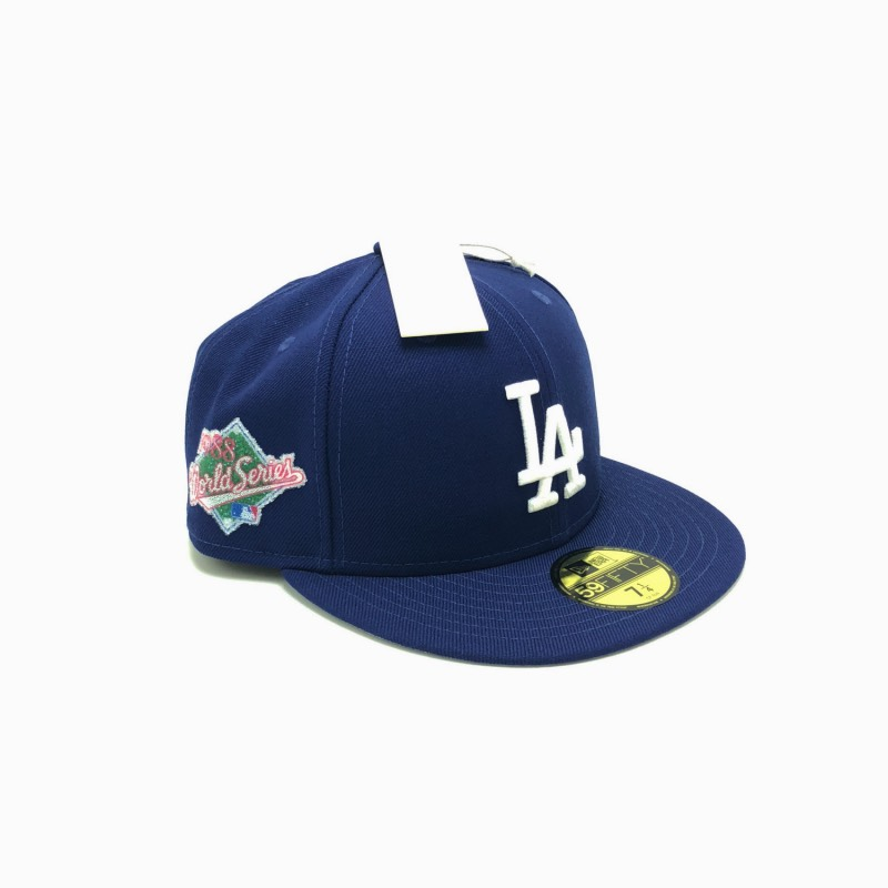 New Era x Swarovski Los Angeles Dodgers 1988 World Series Patch 59Fifty  Fitted Cap in Royal White 052ac0db0ca