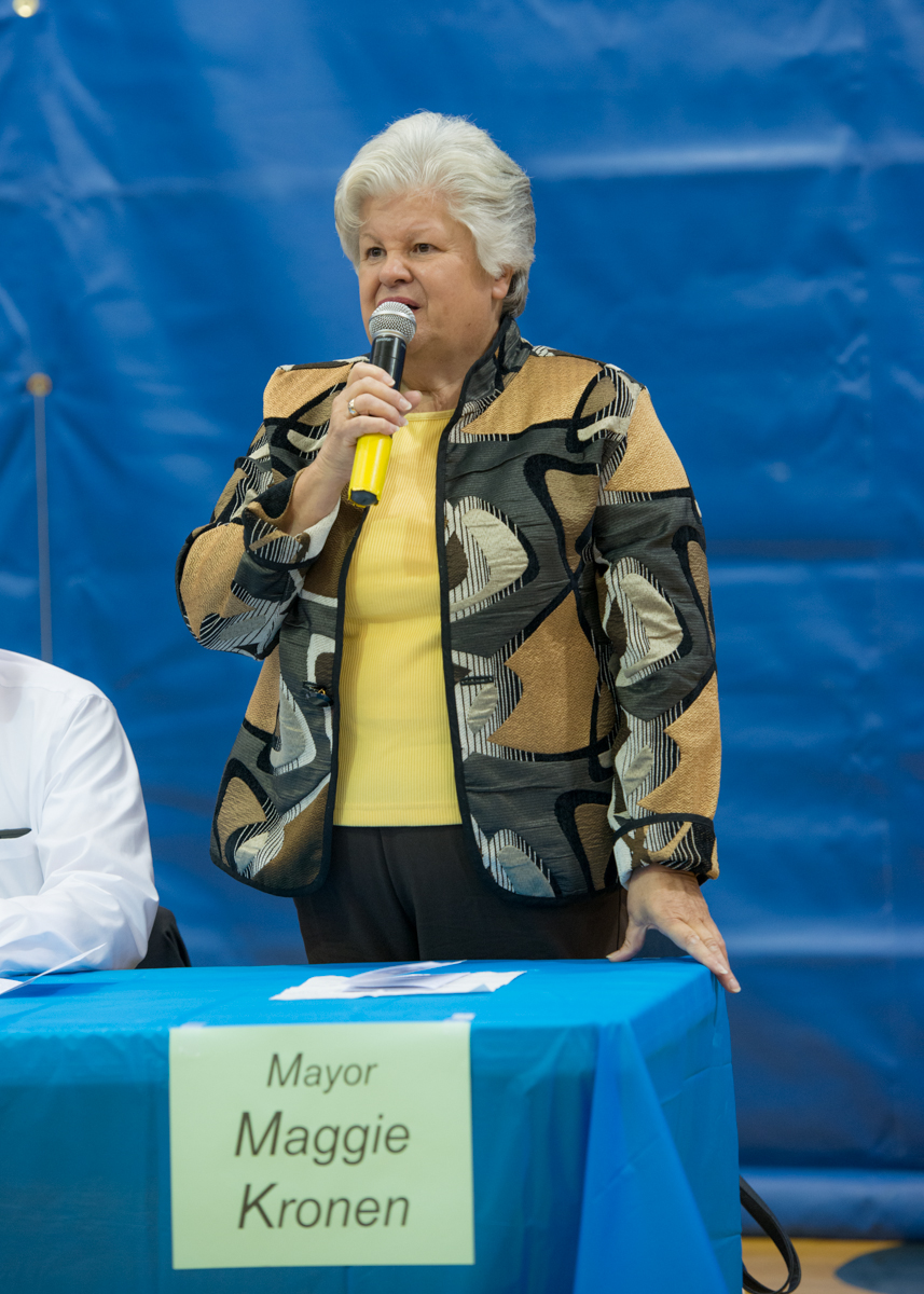 Mayor Maggie Kronen responds to a question at the Candidates Forum