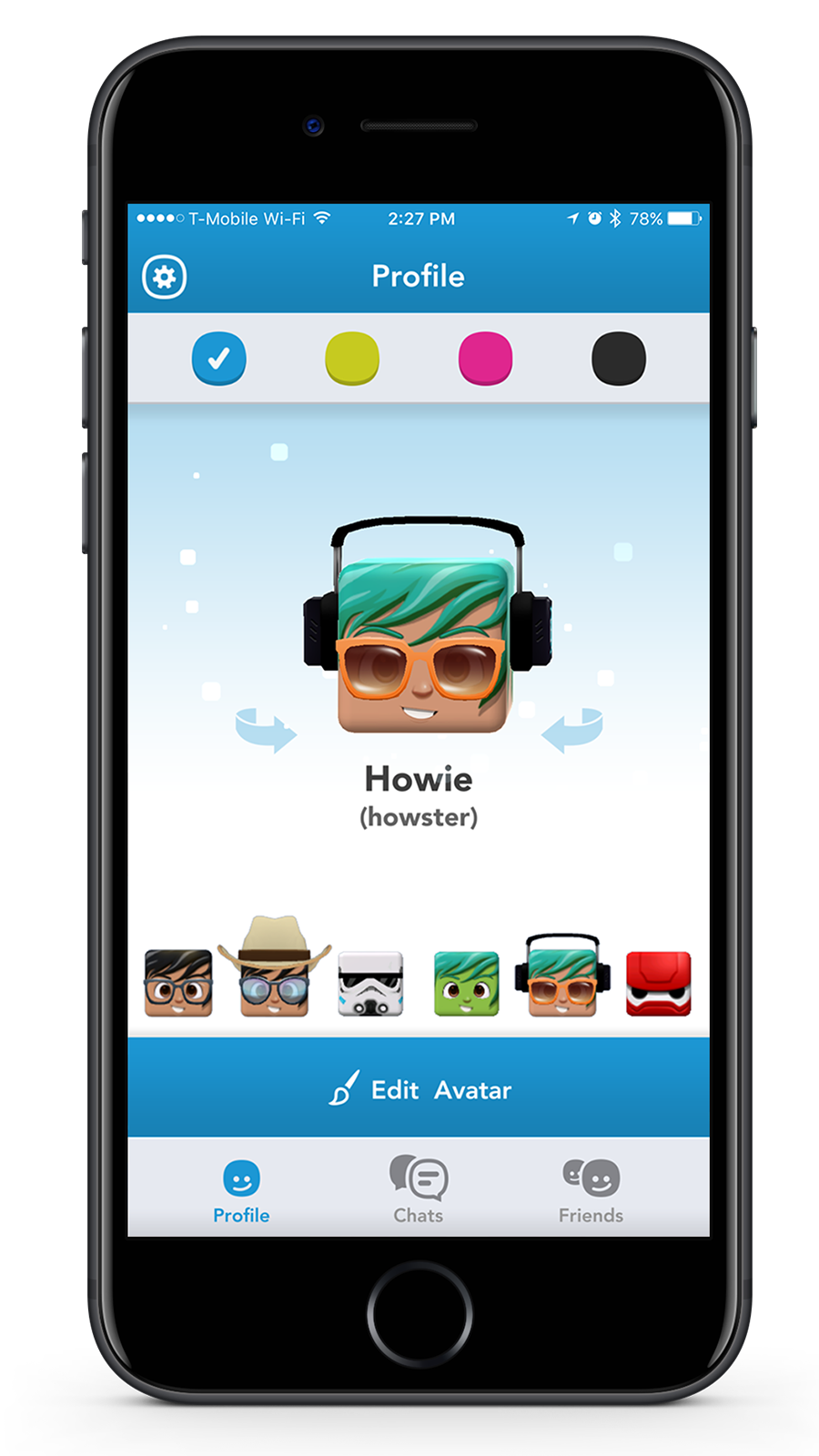Profile Screen - Users can select and manage their saved outfits. Setting custom UI colors for the app was a feature later added to this screen.