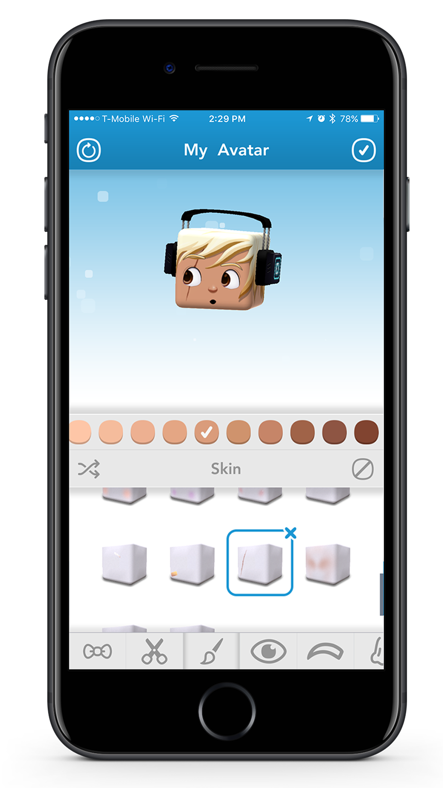 Avatar Editor - Users can edit their avatar's appearance and wear fun and expressive accessories and costumes. Quick action buttons allow users to reset or remove avatar features.