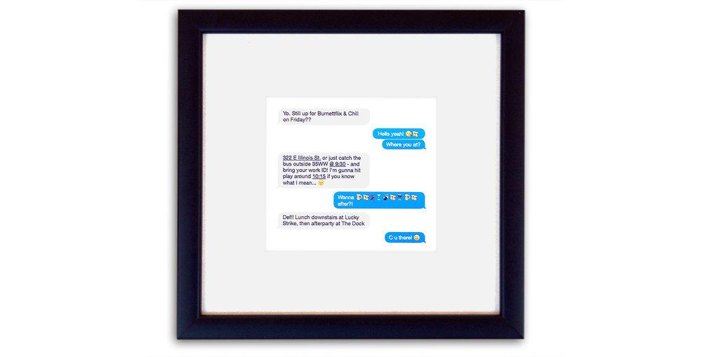 Framed Text Message Conversation