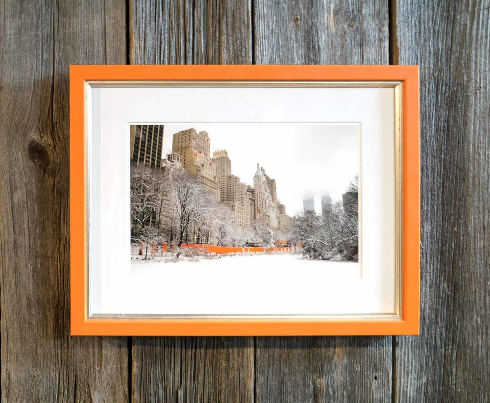 "Christo's ""Gates"" framed in Orange Hibiscus from the Malecon collection."