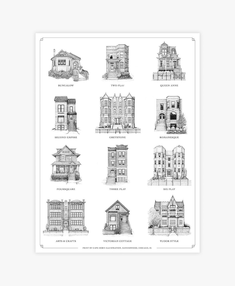 Cape Horn Illustration | A Guide to Chicago Home Styles | 18x24""