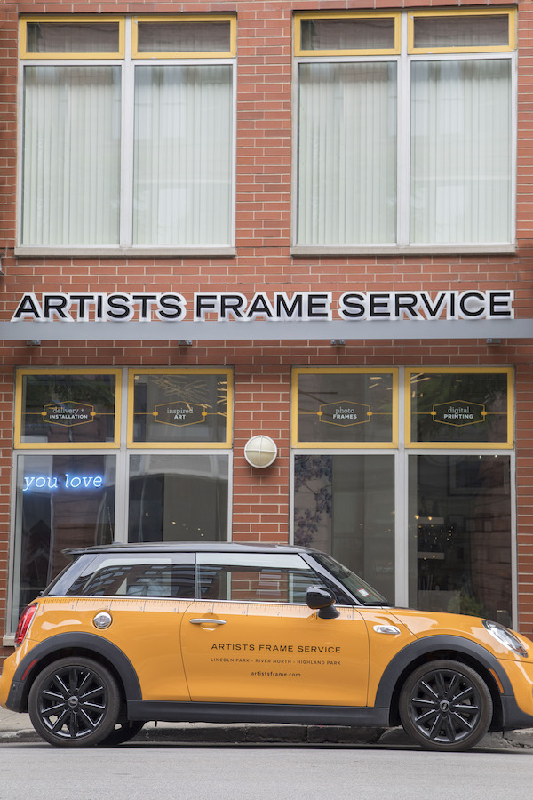 Measure twice. Frame once. Our mini cooper will deliver your art right to your doorstep!