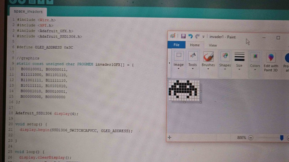 As part of the hermitcrab project I learned how to create bitmaps and display them through hexadecimals.