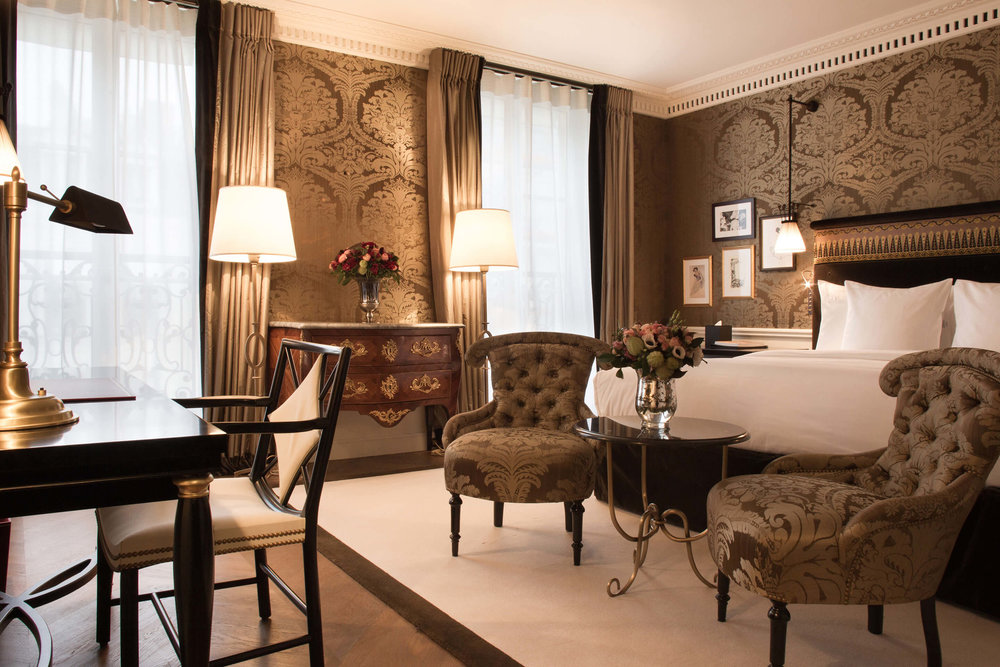 Luxury-drenched room at La Reserve Paris. Photo: La Reserve Paris