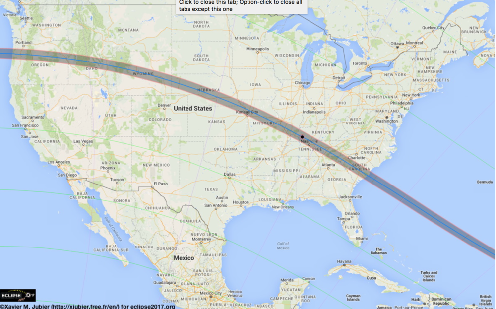 The path of the Total Solar Eclipse (August 2017) in the United States. Photo: Xavier M. Jubler