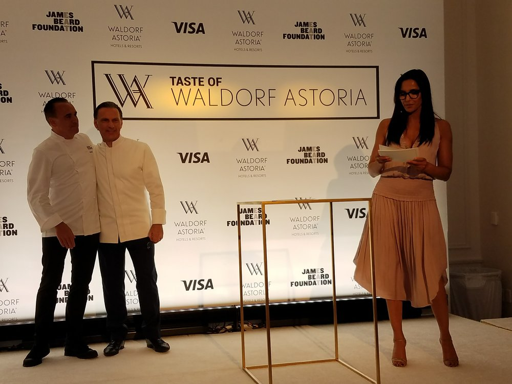Padma Lakshmi and Jean Georges Vongerichten at Taste of Waldorf.