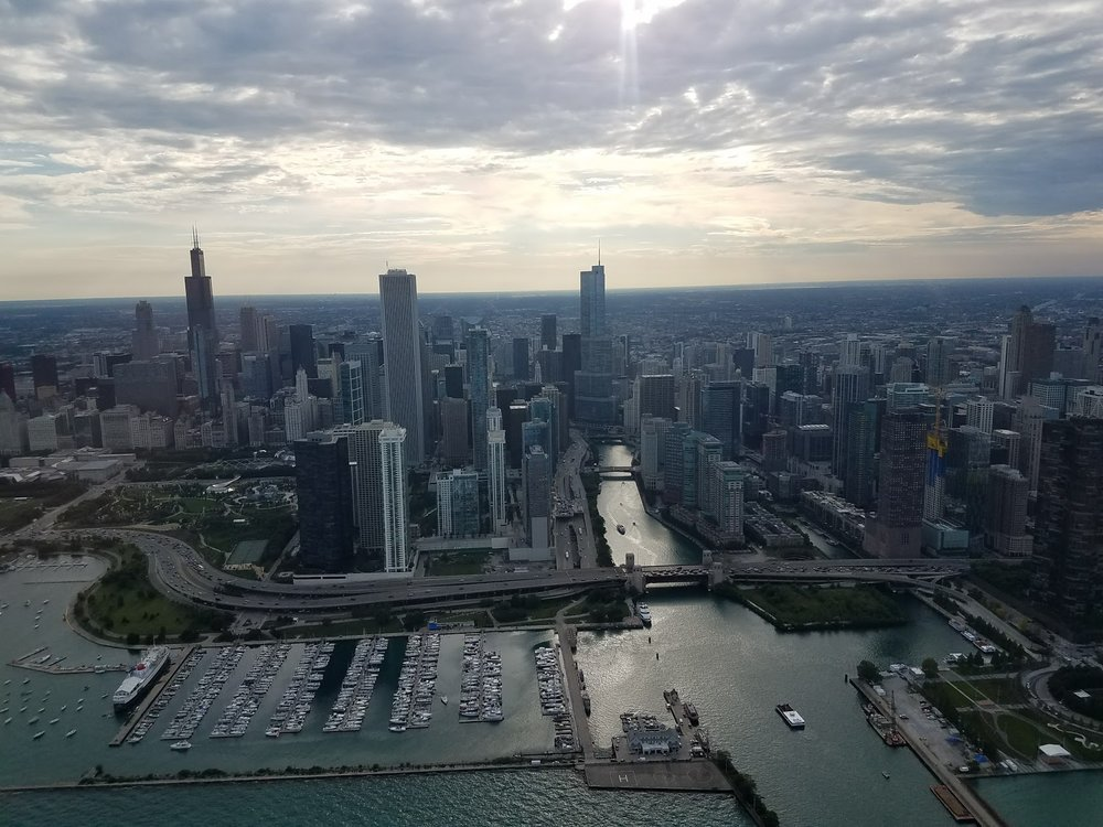 This is the Chicago skyline money shot with a helicopter tour.