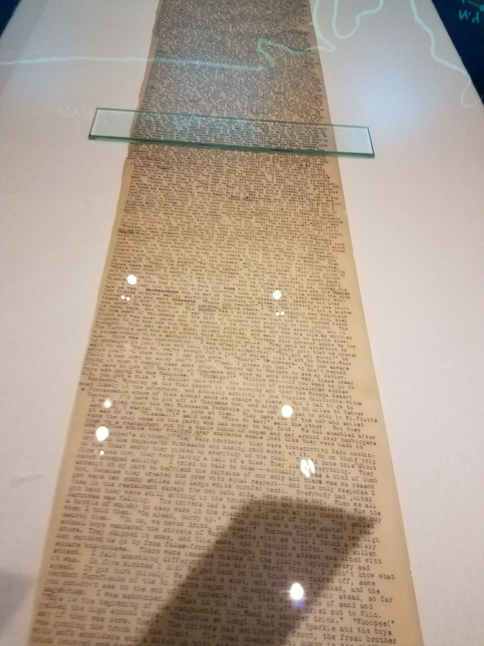 Worst photo ever, right? I was too excited. Anyway, Jack Kerouac's original On The Road manuscript.