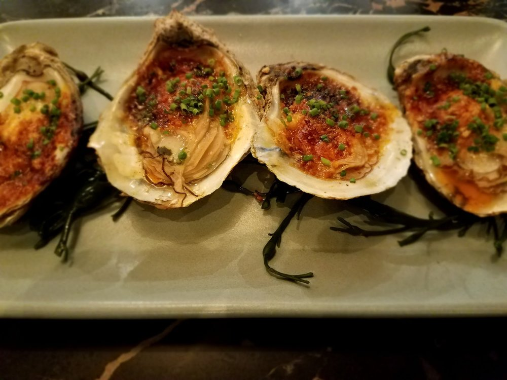 Coal roasted oysters at Proxi Chicago.