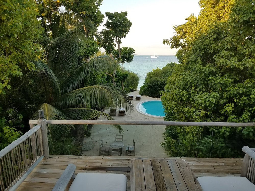 Our view from the second floor of our villa at Soneva Fushi.