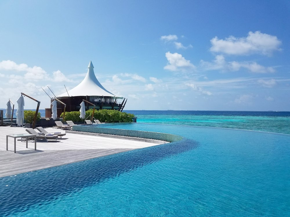 Main infinity pool at Baros Maldives.