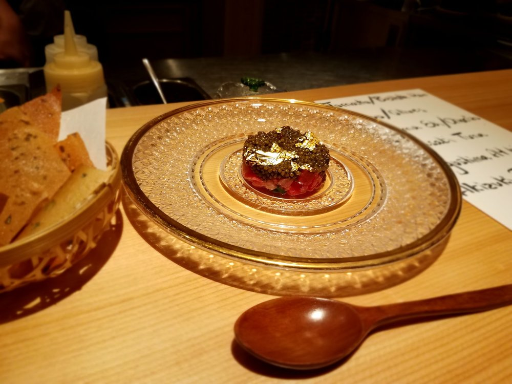 Gold and caviar tartare at Haku.