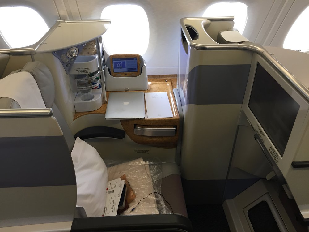 Emirates business class.
